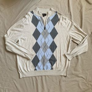 Cream Argyle Quarter Zip Mens Sweater